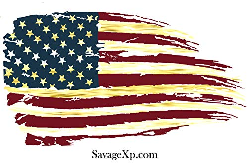 SAVAGE XP Red White & Blue Tattered American Flag Sticker Sheet and Car Window Decal Pack | Various US Flag Sizes Big and Small Approximately 3x5 inch, 2x3 in, and 1/2