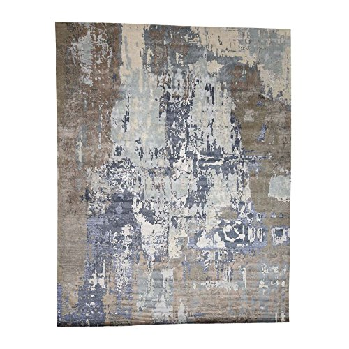 Abstract Design Wool and Silk Hi-Lo Pile Hand-Knotted Rug (12'x15'3″)