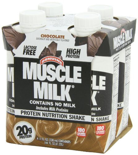 Muscle Milk Protein Nutrition Shake Chocolate - 4 CT