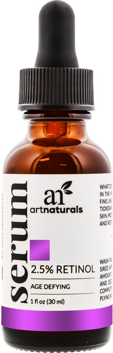 ArtNaturals Enhanced Retinol Serum, 2.5% with 20% Vitamin C and Hyaluronic Acid, Best anti Wrinkle/Aging Serum for Face and Sensitive Skin, 1 oz.