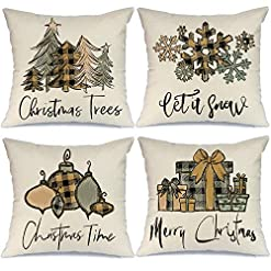Christmas Farmhouse Home Decor AENEY Christmas Pillow Covers 20×20 Set of 4, Buffalo Plaid Christmas Tree Snow Rustic Winter Holiday Throw Pillows… farmhouse christmas pillow covers