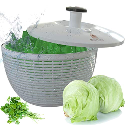 Brieftons Salad Spinner (BR-SS-02): Large 6.2 Quart Lettuce Greens Washer