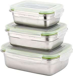3 Stackable Lunch Box   Leakproof Bento Box   Food Storage Containers with Lids   Stainless Steel Snack Box   Rectangle Lunch Container