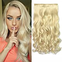 "REECHO 20"" 1-Pack 3/4 Full Head Curly Wave Clips in on Synthetic Hair Extensions Hairpieces for Women 5 Clips 4.6 Oz per Piece - Blonde"