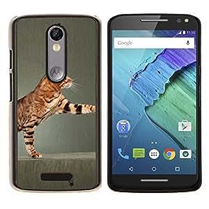 KLONGSHOP // Cubierta de piel con cierre a presión Shell trasero duro de goma Protección Caso - Reproducción Toyger Ocicat gato de Bengala - Motorola Moto X3 3rd Generation //