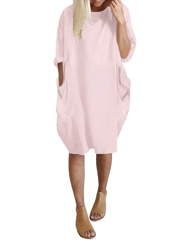 Kidsform Damen Langarm Kleid Loose Rundhals Tunika mit Taschen Gro/ße Gr/ö/ßen Plus Size Casual Oberteile Blusen Tops