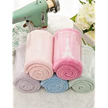 "Suvsertu 2pc Pack High Quality Eiffel Tower Embroidery Coral Fleece Face Towel Wash Towel 13.4"" by 31.5"" , light green YJ #70856"
