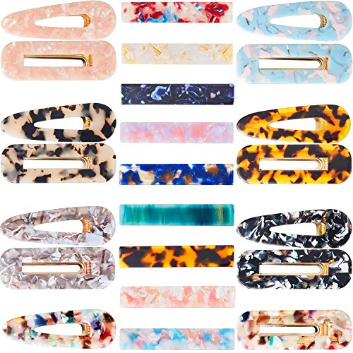 23 Pieces Acrylic Hair Clips Resin Hairpins Marble Rectangle Clips Duckbill Alligator Barrettes for Women and Girl