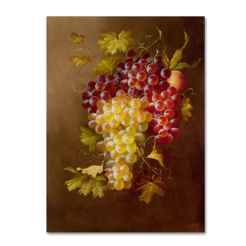 Still Life with Grapes Artwork by Rio, 14 by 19-Inch Canvas Wall Art