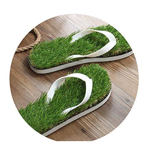 Log SWIT Man Grass Flip Flops Sandals Slippers Thick Bottom Platform Slope Beach Male Lawn Grass Slippers,White,12