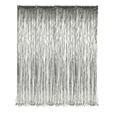"""Set of 2 Silver Foil Fringe Door & Window Curtain Party Decoration 3' X 8' (36"""" X 96"""") """"Value Pack of 2"""""""