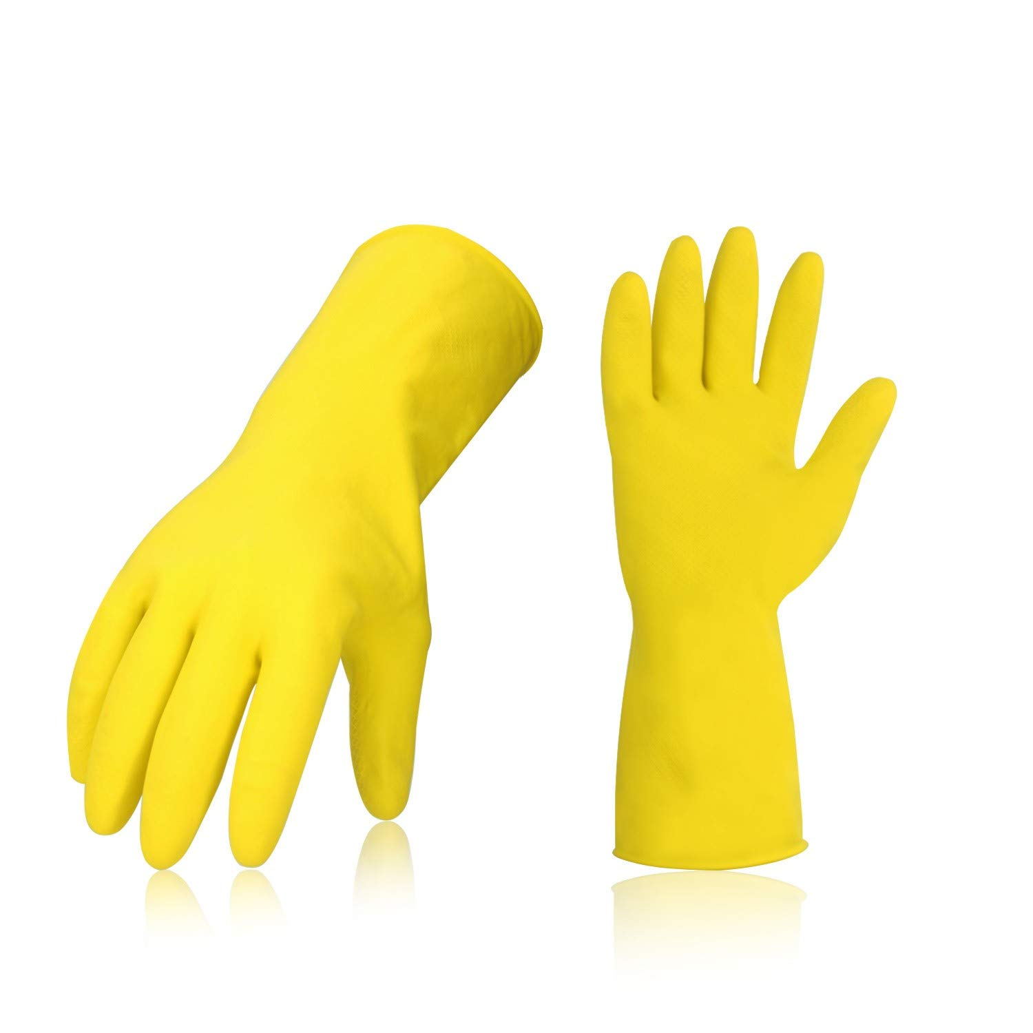 Vgo 10 Pairs Reusable Household Cleaning Dishwashing Kitchen Glove, Long Sleeve Thin Latex Working, Painting, Gardening Gloves, Pet Care(10 Pairs, Size L, Yellow, HH4602)