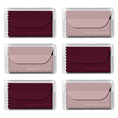 MightyMicroCloth Microfiber Eyeglass Cleaning Cloths - Vinyl Travel Pouch - Lens Cleaner for Glasses, Camera Lenses, Tablets, Phone Screens, Electronics - 6 Pack Wine/Pink (6x7)