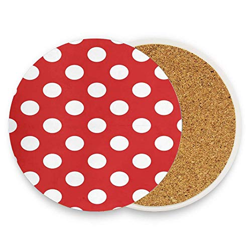 (Polka Dot Red Pattern Absorbent Coaster For Drinks Ceramic Thirsty Stone With Cork Back Fit Big Cup, No Holder Parck 1 )