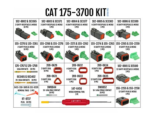 Caterpillar Kit CAT-175-3700 Deutsch Improved Seal DT-Series Field Service Kit with 4-Way Indent Crimp Tool and Extra Contacts: Environmentally Sealed Connectors for Caterpillar Electrical Repair by DELPHIKITS COMPANY (Image #1)