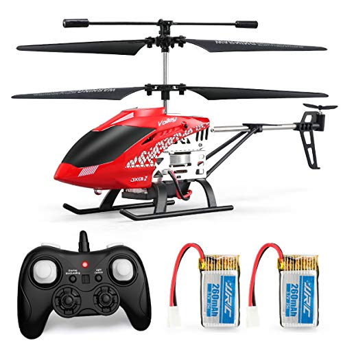 Helicopter with Remote Control, JJRC JX01 Helicopter 3.5CH Altitude Hold Helicopter with 2Batteries for Kids, Gyro 2.4GHz and LED Light for RTF Crash Resistance Helicopter RC Drone Toy Gift (Red) (Best Rc Remote Control Helicopter)