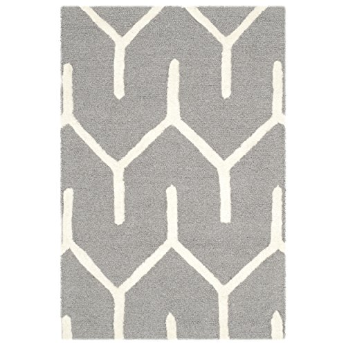Safavieh Cambridge Collection CAM720D Handmade Moroccan Geometric Dark Grey and Ivory Premium Wool Area Rug (2′ x 3′)