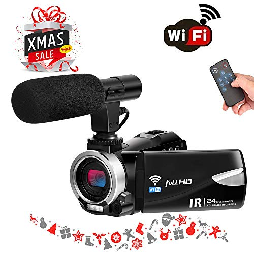 Digital Camera WiFi Camcorder Full HD 1080p 30FPS 24.0MP 16X Digital Zoom Video Camera with Microphone Night Vision Pause Function Vlogging Camera Support Remote Controller