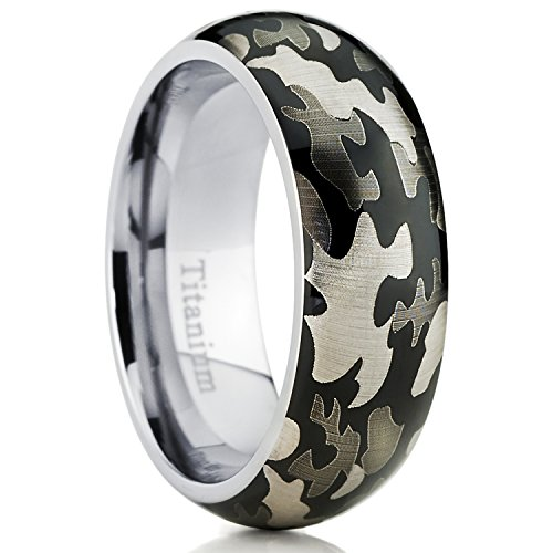 Men's Titanium Camouflage Military Ring Band, Comfort Fit Army Ring Size - Titanium Grade Military