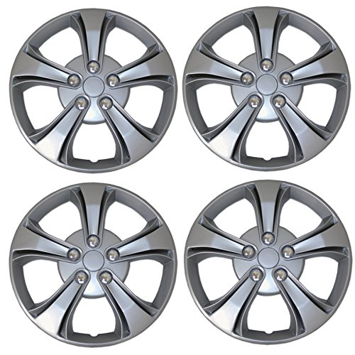 TuningPros WSC3-616S14 4pcs Set Snap-On Type (Pop-On) 14-Inches Metallic Silver Hubcaps Wheel - Hubcaps Accord 96 Honda