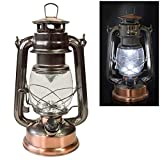 Voche Traditional 15 LED Hurricane Miners Lantern Light Lamp - Antique Style Bronze Copper Finish and Adjustable Dimmer F