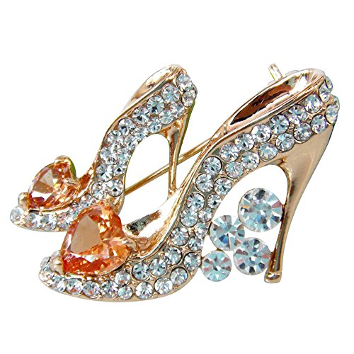 - Navachi 18k Gold Plated Champagne Cubic Zicon Austrian Crystal Shoes Az7804b Brooch Pin
