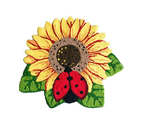 (MeMoreCool Sunflowers and Ladybugs 3D Effect Handmade Needlepoint Acrylic Rugs Bedroom/Living Room/Bathroom/Kitchen Home Decoration Anti-Slip Mats Indoor Welcome Rugs 25.59 by 30.31 Inch)