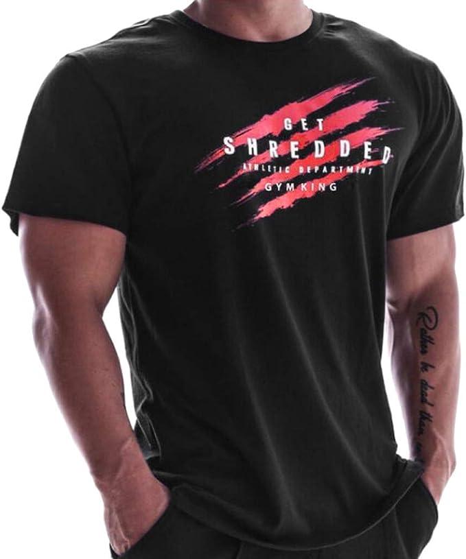 Manga Corta O-Cuello Camiseta Hombres Casual Verano Impresión ...