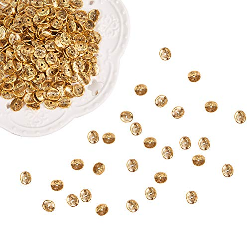 PH PandaHall 400pcs Antique Golden Tibetan Alloy Wavy Spacer Beads Arched Disc Metal Beads for Bracelet Necklace Jewelry Making(9mm, Hole: 1mm)