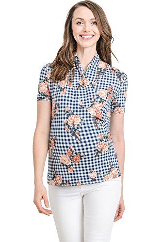 LaClef Women's Short Sleeve Surplice Maternity Nursing Top (Medium, Navy Plaid/Floral) (Plaid Surplice)