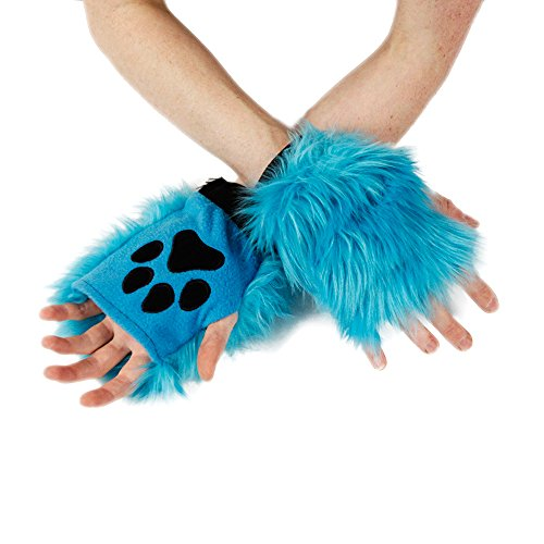 Pawstar Color Theme Pawlets Fingerless Glove Paws Furry Cat Fox Cosplay - Turquoise -