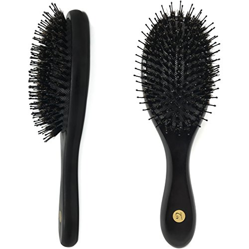 Boar Bristle Hair Brush for Men & Women – Stylish Recommended Wooden Hairbrush Detangles, Stimulates Scalp & Distributes Natural Oils for Massive Shine – Best Boors Hair Brush for All Hair Types by Truly Genuine Beauty