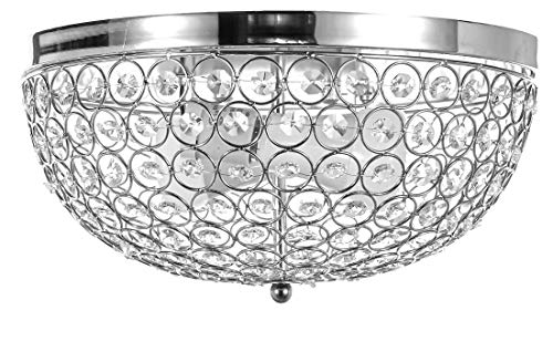 New Legend 2-Light Chrome Finish Metal Frame Flushmount Crystal Chandelier Ceiling Lamp - Beaded Ceiling Light Crystal