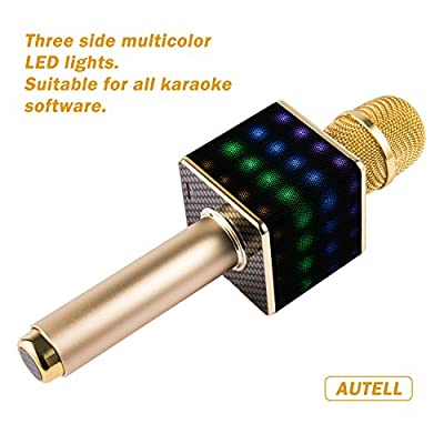 Wireless Karaoke Microphone-H8,Portable Handheld Bluetooth Karaoke Machine,The Second Generation,Brighter LED Lights,Louder Speakers,2600mAh,For Home KTV By AUTELL