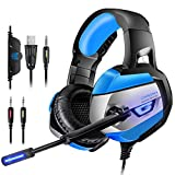 Cheap Gaming Headset for PS4, PC, Xbox One(Adapter Needed), ONIKUMA Noise Cancelling Over Ear Headphones with Mic, LED Lights, Bass Surround, Soft Memory Earmuffs for Laptop Mac Nintendo Switch Games