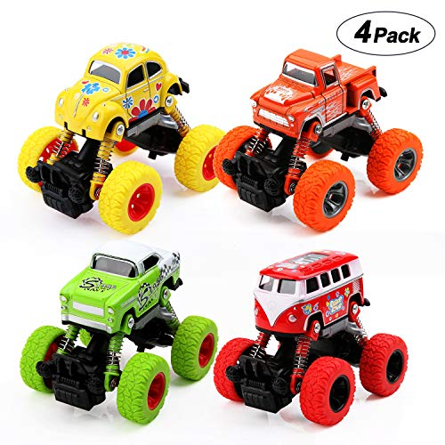 BBLIKE Pull Back Cars Toys, 4-Packs Monster Trucks Inertia Toys Friction Powered Cars, Pull Back Vehicles with Shockproof Spring and Textured Rubber Tires, Push Go Truck and Car for Boys Girls Toddler