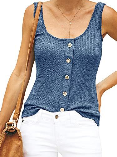 7dd37f8bad4 Niitawm Womens Sleeveless Henley Shirts Button Waffle Slim Fit Sexy Round  Neck Tank Tops