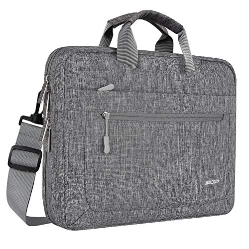 MOSISO Laptop Shoulder Bag Compatible 15-15.6 Inch MacBook Pro, Ultrabook Netbook Tablet with Adjustable Depth at Bottom, Polyester Messenger Briefcase Carrying Handbag Sleeve Case Cover, Gray (Hp Bottom Case)