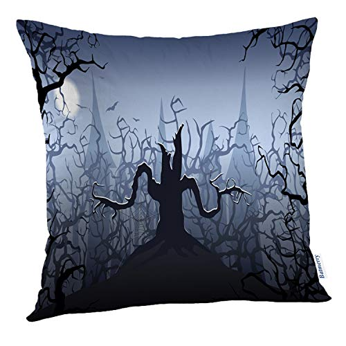 (Batmerry Halloween Pillow Covers 18x18 inch,Halloween Scary Tree Castle Horror Evil Scene Spooky Spider Dark Throw Pillows Covers Sofa Cushion Cover)