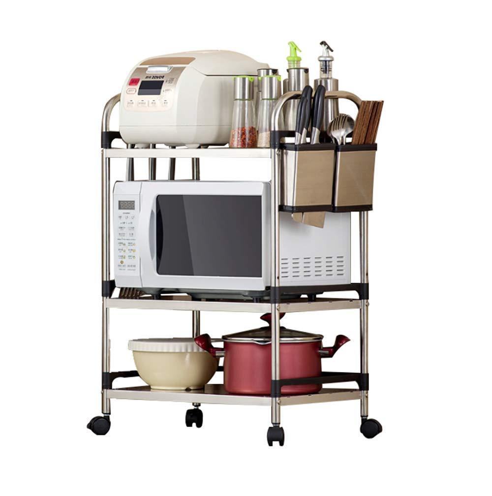 A 60CM Kitchen cart, Stainless Steel Rack Balcony storage rack Bathroom Bedroom Finishing Rack Flower Stand