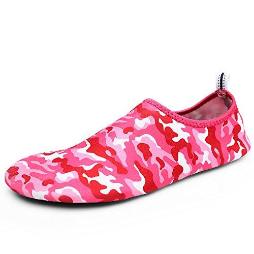 Ultra playa calzado zapatos Anti light Lucdespo la 2 camuflaje zapatos transpirables cuidado esquí de Skid acuático de rojo piel natación DFS d1Bwnx
