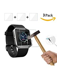 Vancle Screen Protector for Fitbit Blaze,Tempered Glass 2.5D, HD Ultra Clear Film, 3-PACK