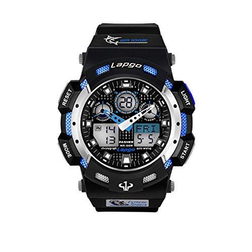 Men Boy Teenager Kid Junior Children Sport Watch Analogue Digital 100M Waterproof Wrist Watch Timer Big Face Dual Dial Business Casual LCD Electronic Back Light Wristwatch - Blue (Casual Timer)