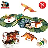 ACTRINIC Jurassic World Dinosaur Toys Race Track Sets with 144 Pieces Flexible Tracks 3 Dinosaurs,2 Military Vehicles,1 Tree and 2 In 1 Tunnel for 2 3 4 Year Girls and Boys Best Gift.