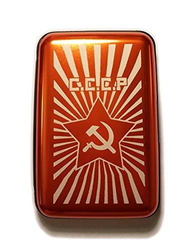 C.C.C.P Russian Hammer and Sickle - Orange Aluminum Hard Credit Card Wallet ()