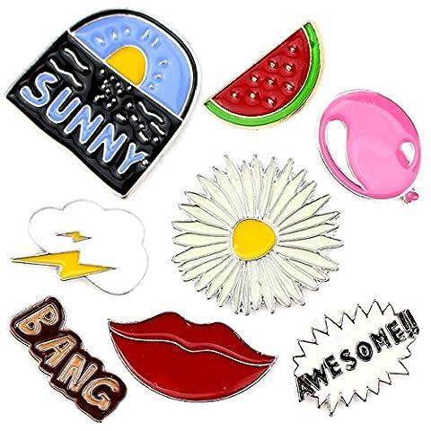 Fashion Cute Cartoon Brooch Pins Cat Animal Flamingo Floral Fruits Enamel Brooches Lapel Pins Badge for Women Ladys Clothing Bag Decor (Sky Cloud Balloon Watermelon Summer lips set of - Enamel Floral Brooch Pin