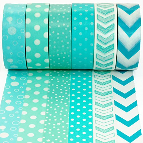 Crafty Rabbit Dots and Arrows Washi Tape - Set of 6 Rolls - 196 Feet Total - Turquoise (Stationery Chevron Set)