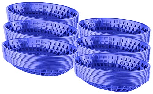 Bear Paw Products - Plastic Food Baskets - Oval Baskets - 72 Pack - Perfect for Fries, Burgers, Sandwiches, and - Blue Bread Baskets