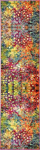 Unique Loom Jardin Collection Colorful Abstract Multi Runner Rug (3' x 10') from Unique Loom