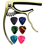 MELODIC Guitar Capo with 6 Free Guitar Picks for Ukulele Acoustic and Electric Guitars- Made of Zinc Alloy (Gold)